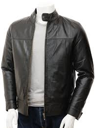men s leather biker jacket in black kovrov front
