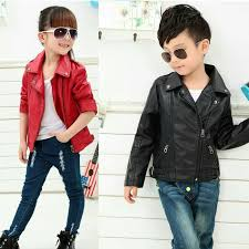 jaket kulit semi leather jacket anak anak kids children n hitam