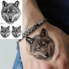 Realistic Wolf Designs Ommgo Real 3d Wolf Face Design Temporary Tattoo Sticker Fierce Fake Tattoos Small Body Art Wrist Custom Tato Mens Fashion