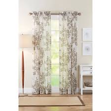 better homes and gardens faux linen leaves polyester curtain panel taupe com