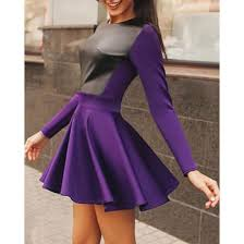 dress purple skater dress long sleeves faux leather cute rose whole casual dress