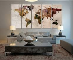 creative office wall art. Map Art - Large Canvas Print Rustic World Map, Wall Art, Extra Creative Office