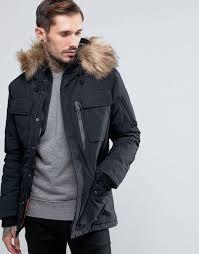 schott thunder hooded parka detachable faux fur trim black men schott wool coats schott cafe racer jacket newest