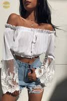 Off Shoulder <b>White Lace</b> Crop Tops Canada | Best Selling Off ...