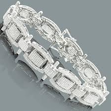 mens silver bracelet diamonds 7 62ct