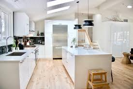 ikea kitchen midcentury modern kitchen white kitchen vaulted ceiling waterfall island