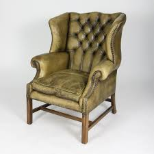 garden court antiques san francisco handsome gany and original tufted green leather wing chair