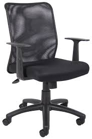 boss mesh back task chair with fixed arms
