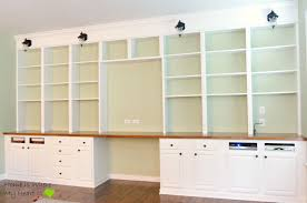 Base Cabinets For Desk Remodelaholic Build A Wall To Wall Built In Desk And Bookcase