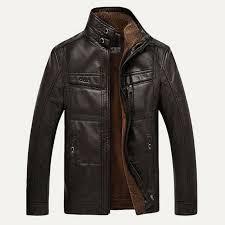 details about vintage men warm fur lined motorcycle leather jacket coat parka windproof winter