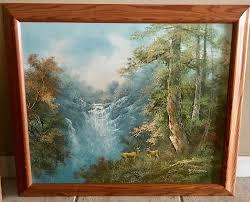 r danford orig oil painting on canvas signed framed1960 s landscape w deers