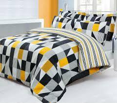black grey yellow trendy striped design reversible bedding duvet quilt cover set