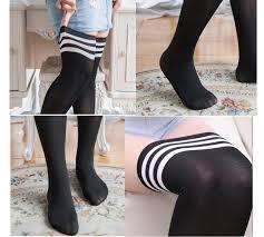 plus size thigh high socks online shop 50pairs lot plus size striped knee socks women cotton