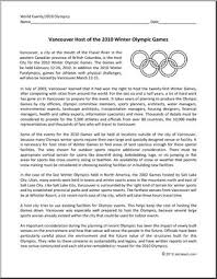 reading comprehension winter olympic games in vancouver reading comprehension winter olympic games in 2010 vancouver map skills essay