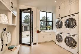 Contemporary Laundry Room with High ceiling, Laguna Bay Cream 12 in. x 12 in