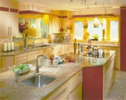 ... modern kitchen design and decor ideas Wooden ceiling beams and dining  table, red tableware in storage cabinets in light yellow color