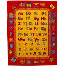 abc fun kids area rug 5 x 7 children red carpet playroom nursery non skid gel backing 59 x 82 com