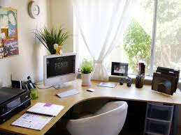 Office:Excellent Home Office Interior Design With Corner Wooden Desk Table  And Cozy White Chair