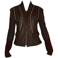 roberto cavalli class chocolate brown leather jacket for