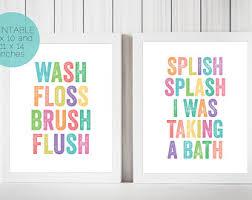 kids bathroom wall decor. Set Of 2 Prints, Kids Bathroom Wall Art, Decor, Wash Floss Decor T
