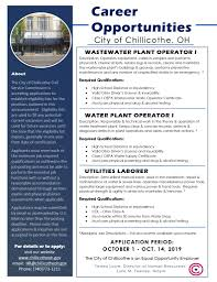 Job Qualification List Water Plant Operator 1 Chillicothe Ross Chamber Of Commerce