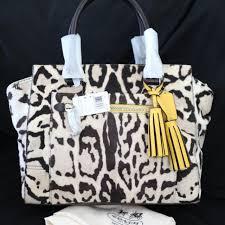 Coach Madison Ocelot Cheetah Haircalf Candace Carryall Satchel Bag 21166