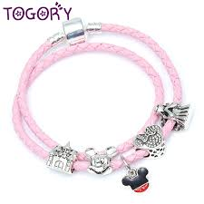 detail feedback questions about togory drop silver charm pink leather pandora bracelet for women mickey minnie magnet clasp charm bracelet gift