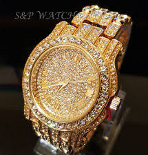 iced out watch men hip hop iced out gold tone techno pave bling simulated diamond rapper watch