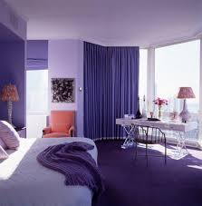 bedroom: Attractive Purple Curtain Color In Apartment Bedroom Ideas Feat  Adorable Beds With White Bedding