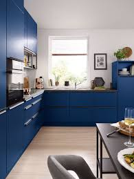 Beautiful Blue Kitchen Cabinets In A Matte Finish High Gloss Units ...