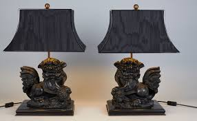 carved cast stone foo dog table lamps 1970s set of 2