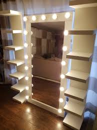 vanity mirror full length with side shelves
