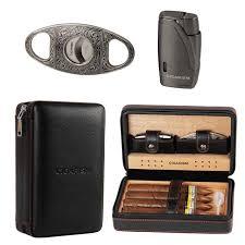 cigarism cedar lined cigar case travel humidor w cutter lighter set 4 count fit cohiba