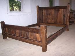 custom made reclaimed antique oak wood queen size rustic bed frame with beveled posts