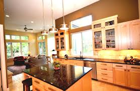 the kitchen is modern with clean lines and open to the family room
