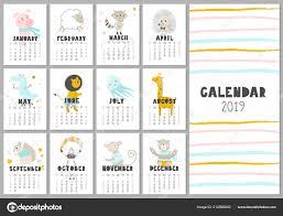 Monthly Creative Calendar 2019 Cute Animals Concept Vector