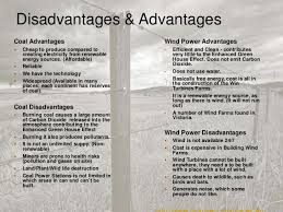 environmental science coal and wind power  10 disadvantages advantagescoal advantages