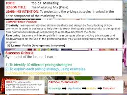 topic topic marketing lesson title the marketing mix price 1 topic topic