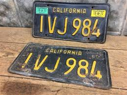 California Black Yellow License Plates Tags Matched Set   Etsy in 2021    Vintage license plates, License plate art, License plate