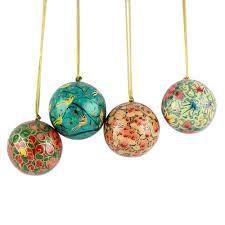 India Handmade Papier Mache Christmas Ornaments (Set of 4) - Christmas Joy  | NOVICA