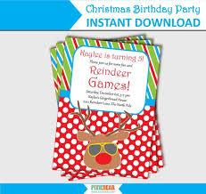 Christmas Birthday Party Invitations Christmas Birthday Party Invitation Summer Christmas Reindeer
