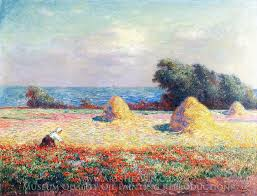 ferdinand du puigaudeau stacks of hay and field of poppies oil painting reion