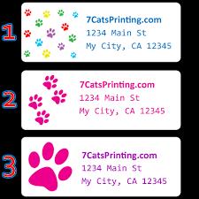 Printed Return Address Label Cat Dog Animal Paw Print Return Address Labels