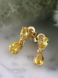 natural yellow sapphire teardrop solid 14 karat gold chandelier earrings