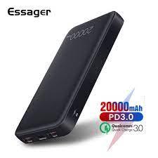 Chỉ 350,010đ Sạc dự phòng Essager hỗ trợ sạc nhanh cho các thiết bị chạy hệ  điều hành Android/iOS 20000mAh