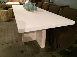 concrete outdoor dining table. Long Concrete And Reclaimed Elm Dining Table On Double Modern T Shaped Wood Base Available In White, Natural Or Charcoal Tops Not Suitable For Outdoor B