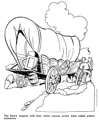 Small Picture Kid coloring pages of Prairie schooners westwardho pioneers