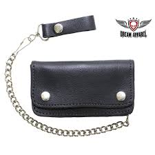 heavy duty black leather motorcycle chain wallet zoom