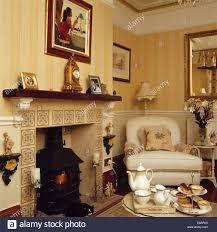 Decorative Tiles For Fireplace Tea set on table in front of fireplace with decorative tiles and 85