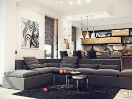 black sofa and black rug in modern open living room kitchen image